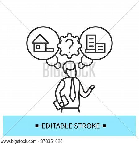 Workplace Option Icon. Man Choosing Office Or Working From Home Option Linear Pictogram. Concept Of