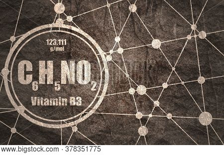 Chemical Formula Of Niacin. Nicotinic Acid Or Vitamin B3. Connected Lines With Dots Background.