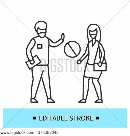 No Admittance Icon. Only Staff.man Preventing Woman Access To Enter Line Pictogram. Concept Of Workp