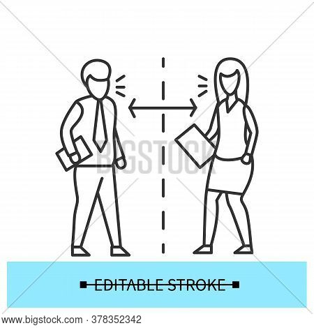 Communication Distance Icon. Man And Woman Talking Maintaining Safe Social Distance Line Pictogram.
