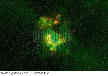 An Unusual Green Galaxy. Elements Of This Image Were Furnished By Nasa.