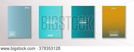 Wavy Minimal Cover Vector Set. Pattern Gradient Overlay Business Folder. Modern Flyer Graphic Design