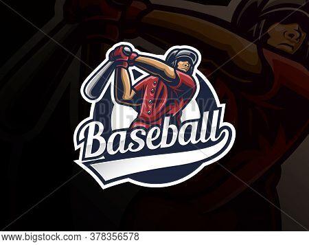 Baseball Sport Logo Design. Modern Professional Baseball Vector Badge. Baseball Player Logo Design V
