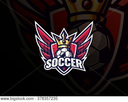 Soccer Football Sport Logo Design. Soccer Logo Or Football Club Sign Badge Vector Illustration. King