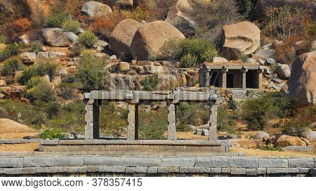 Hampi,Karnataka, India - December 31,2018:The ruins of Hampi of the 14th Century lie scattered in about a 26 sq. km area , is also a UNESCO World Heritage Site located in east-central Karnataka, India