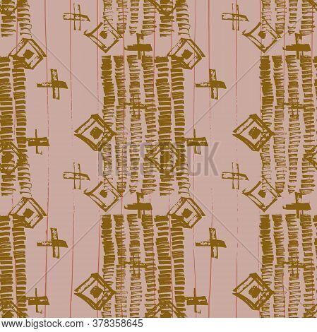Tie Dye Japanese Geometric Modern Seamless Pattern. Geo Wabi Sabi Watercolor Kimono Print. Scribble