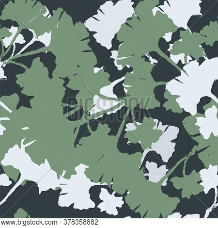 Boho Ginkgo Biloba Rug. Watercolor Botanical Foliage In Green Colors. Ginkgo Leaves Seamless Vector