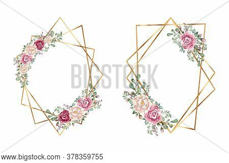 Gold Frames Set With With Flowers. Geometrical Polyhedron With Flowers.