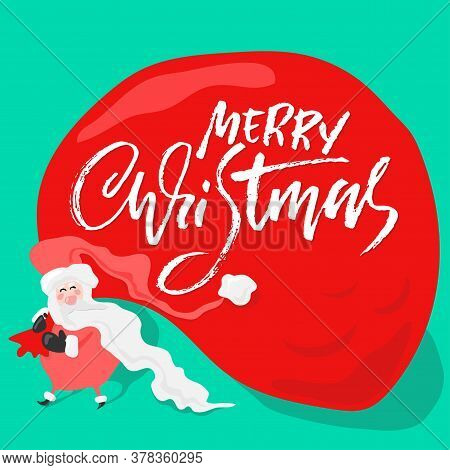 Vector Christmas Calligraphy. Handwritten Modern Dry Brush Lettering. Typography Poster With Santa C