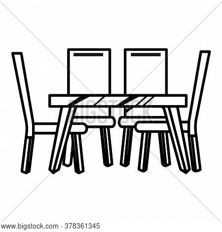 Dining Table Icon. Table And Chairs - Vector