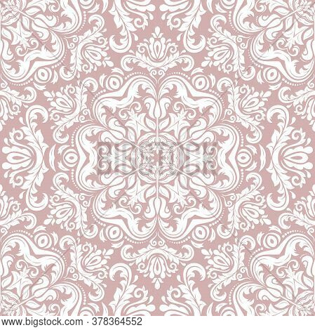 Classic Seamless Vector Pattern. Damask Orient White Ornament. Classic Vintage Background. Orient Or