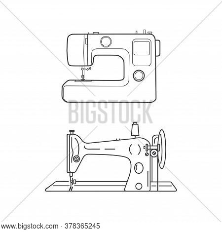 Modern And Retro Sewing Machine. Sewing Machines On A White Background. Sewing Icons