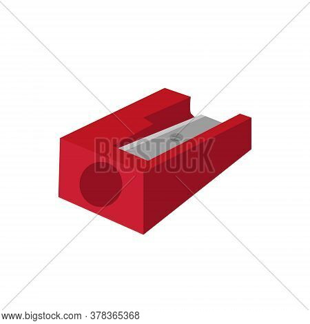 Sharpener For Pencils Icon, Flat, Cartoon Style. Isolated On White Background. Vector Illustration