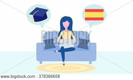 Online Spanish Learning, Distance Education Concept. Language Training And Courses. Woman Student St