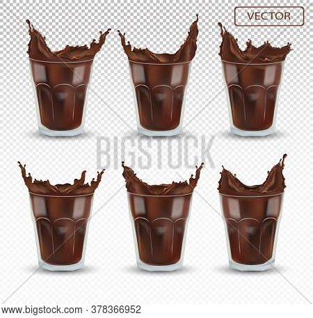 3d Realistic Chocolate Splash In The Transparent Glass. Big Collection Cocoa Or Coffee. Chocolate Dr