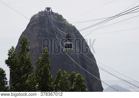 Rio De Janeiro; Brazil - February, 12, 2019: Cable Car To Sugarloaf Mountain Or Pao De Acucar In Rio