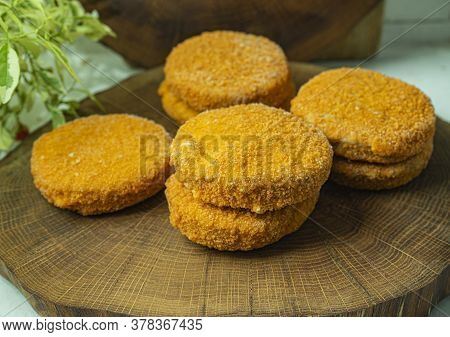Frozen Cutlets, Semi-finished Products For Making Burgers. Fish, Seafood And Fish Semi-finished Prod
