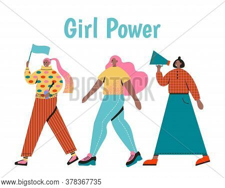 Stylish Women Dressed In Trendy Clothes. Girl Power Concept.hand Drawn Colored Vector Illustrations.