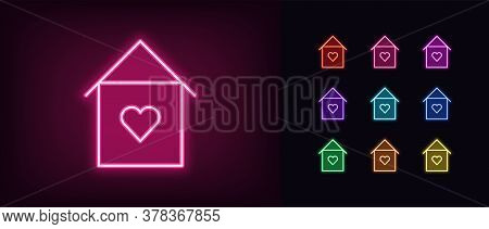 Neon Lovely Home Icon. Glowing Neon House Sign With Heart, Sweet Home In Vivid Colors. Love House, C