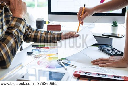 Team Design Of Young Interior Graphic Designer Working House Project Sketching On Graphic Tablet And