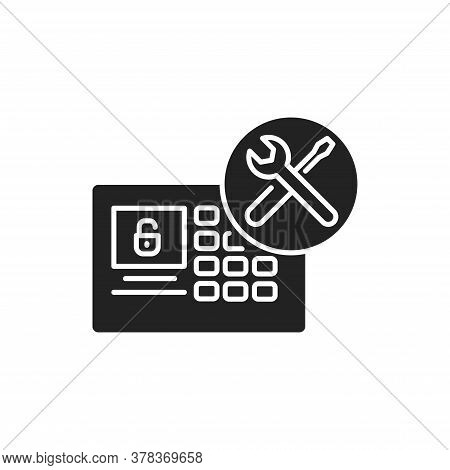 Smart Device Installation Black Glyph Icon. Home Automation. Installation Electronic Devices. Handym