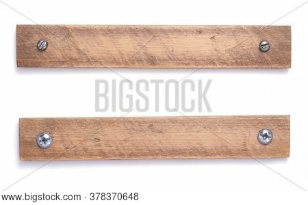 aged wooden board, beam or bars isolated on white background