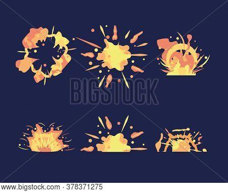 Cartoon Motion Explosions. Animated Explosion Shot. Explosion Animation. Set Of Objects, Animation S
