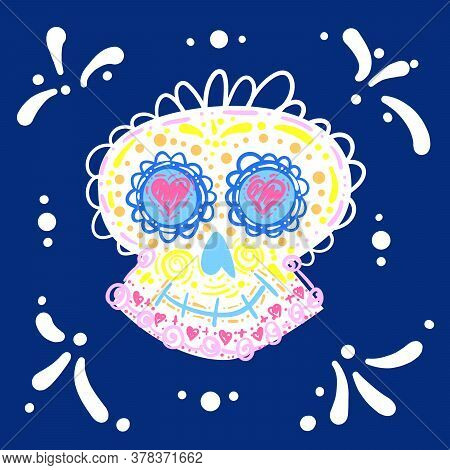 Dia De Los Muertos. Day Of The Dead. Mexican Carnival Concept With Sugar Festive Skull. Fiesta, Holi