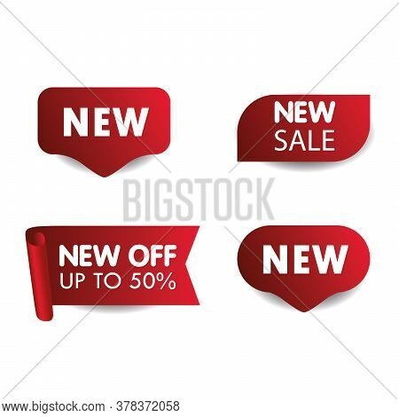 New Tag Ribbon And Banner Vector. Price Tag And Best Sale, Template Collection. Set Of Sale Tags Wit