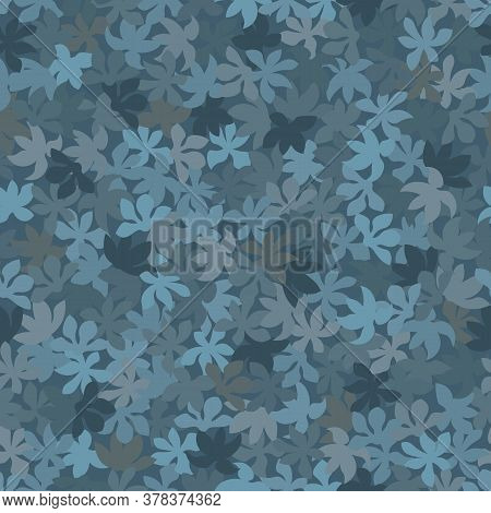 Modern Monotone Blue Flowers With Foliage Pattern Background