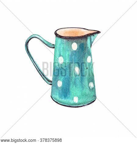 Watercolor Illustration .vintage Enameled Tableware For Milk Or Other Liquids. Enameled Blue Pitcher