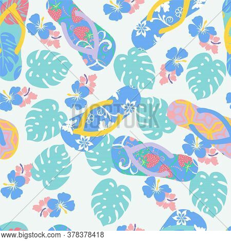 Vector Summer Background With Flower Hibiscus And Flip Flops. Seamless Tropical Floral Wallpaper In