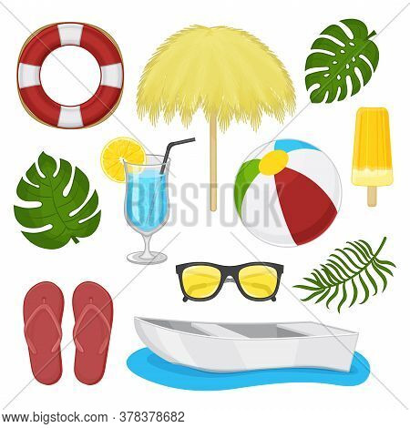 Collection Of Summer Accessories On A White Background. Tropical Paradise.. Isolated Object On A Whi