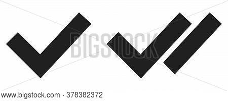 Checkmark And Seen Message Symbol. Tick, Read Message Vector Icon