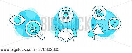 Love Couple, Friends World And Love Line Icons Set. Handshake Deal, Research And Promotion Complex I