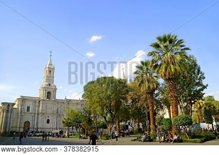 Plaza De Armas Square With The Remarkable Bell Tower Of Arequipa Cathedral, Arequipa Old City, Peru,