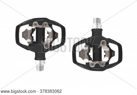 Pair Of Bicycle Clipless Pedals Isolated On White Background