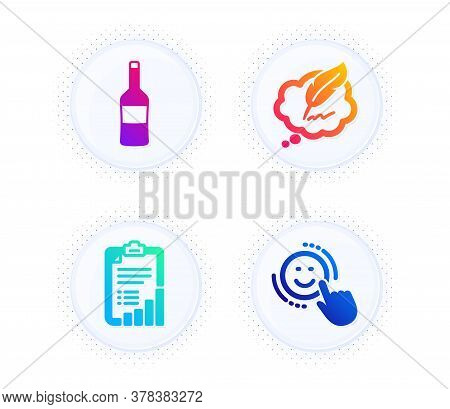 Checklist, Copyright Chat And Wine Icons Simple Set. Button With Halftone Dots. Smile Sign. Graph Re