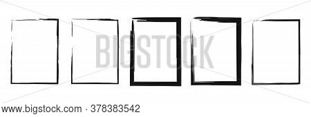 Grunge Brush Frame. Vector Isolated Grungy Black Collection.