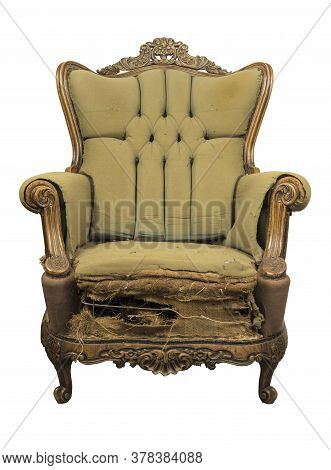 Vintage Style . Defective Old Broken Leather Armchair On White