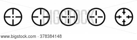 Targen Icon Set. Vector Isolated Aim Crosshair On White Background.
