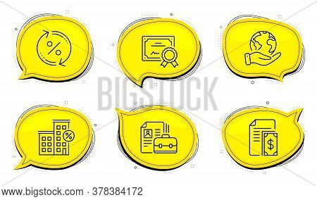 Loan Percent Sign. Diploma Certificate, Save Planet Chat Bubbles. Vacancy, Loan House And Payment Li