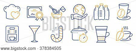 Set Of Food And Drink Icons, Such As Candy, Coffee Maker. Certificate, Save Planet. Cooking Whisk, M