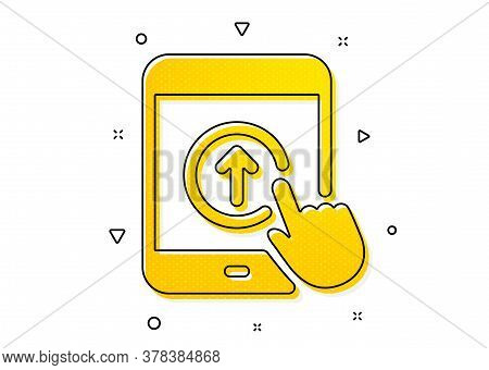 Scrolling Arrow Sign. Swipe Up Tablet Pc Icon. Landing Page Scroll Symbol. Yellow Circles Pattern. C