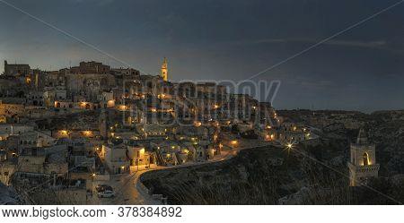 Ancient Town Of Matera, Sassi Di Matera At Night, Basilicata, Southern Italy
