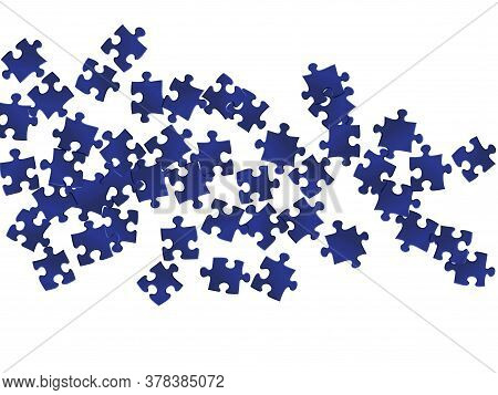 Abstract Tickler Jigsaw Puzzle Dark Blue Parts Vector Illustration. Scatter Of Puzzle Pieces Isolate