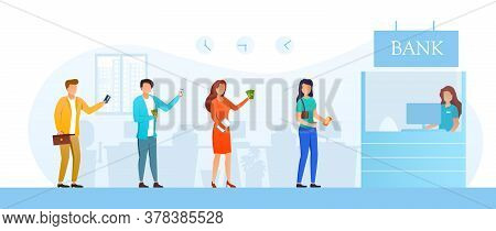 Young Men And Women Waiting Their Turn In Line To Cashier In Bank. Vector Illustration