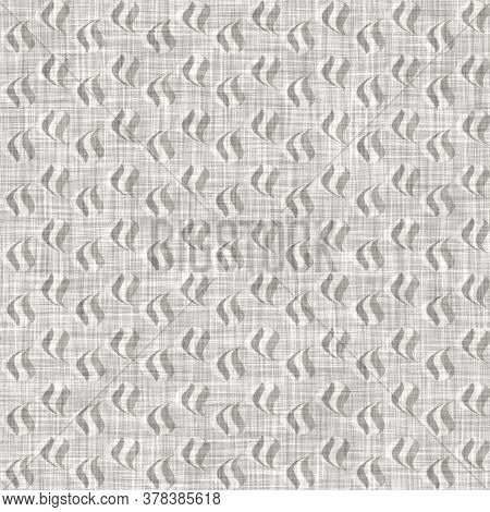 Natural Gray French Woven Linen Texture Background. Old Ecru Flax Paisley Motif Seamless Pattern. Or