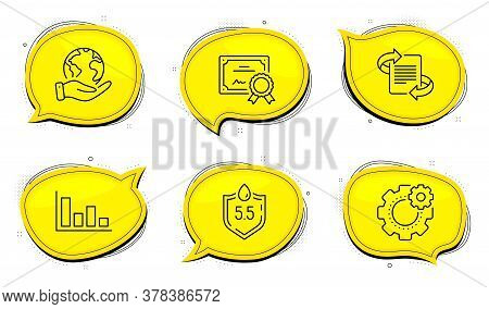 Ph Neutral Sign. Diploma Certificate, Save Planet Chat Bubbles. Marketing, Histogram And Cogwheel Li