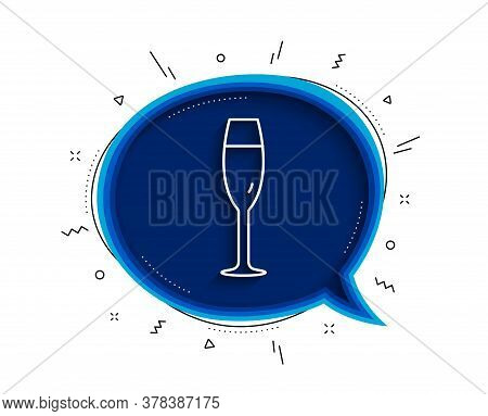 Champagne Glass Line Icon. Chat Bubble With Shadow. Wine Glass Sign. Thin Line Champagne Glass Icon.